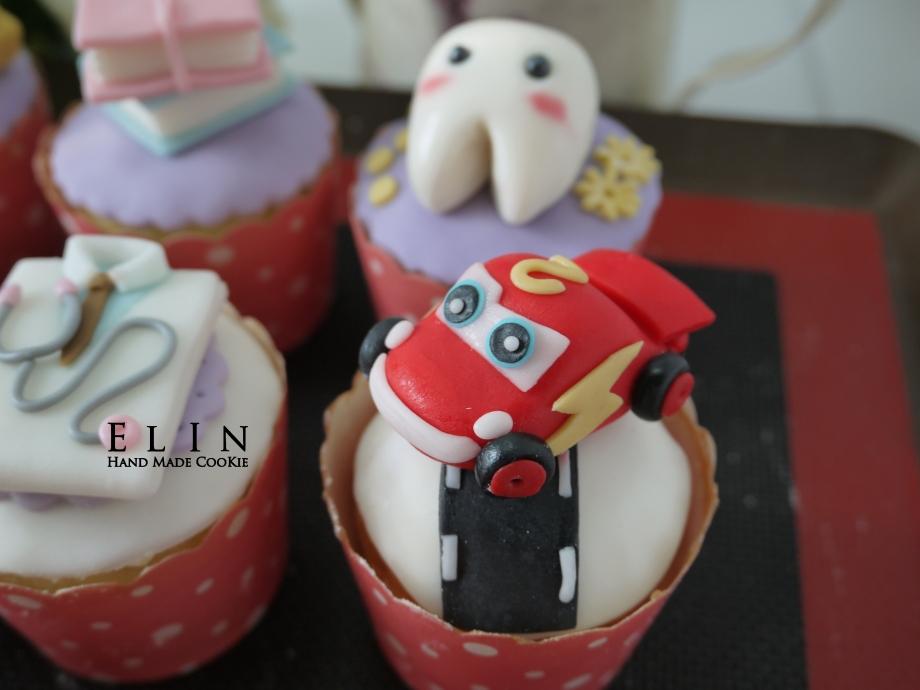翻糖 汽車 蛋糕 杯子蛋糕