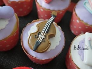 翻糖 小提琴 杯子 蛋糕