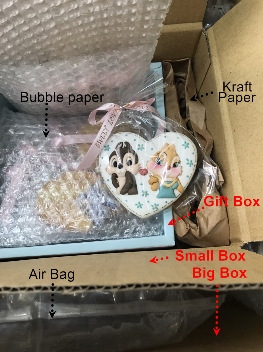 royal icing gift with kraft paper, bubble paper and box