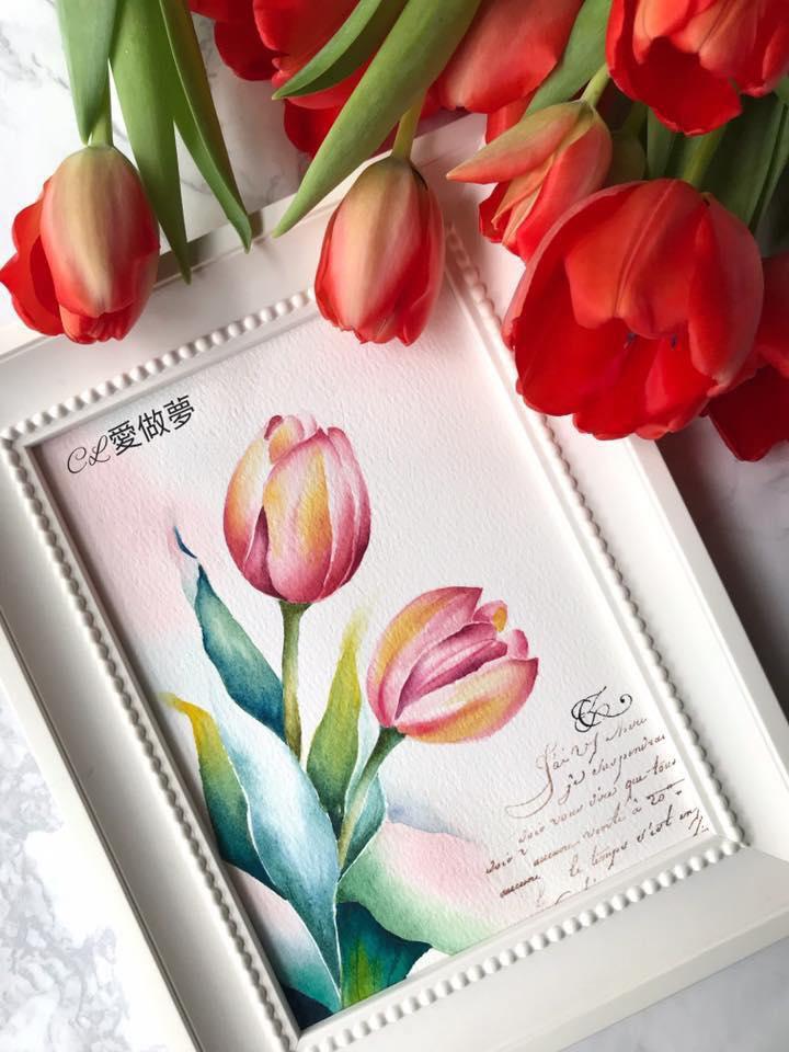 [水彩]甜蜜時光 花時間~鬱金香 Claire台南